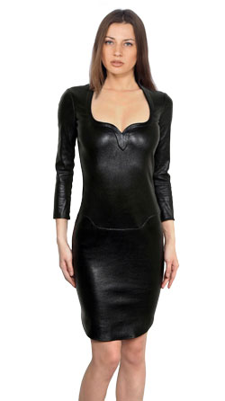 Stretchable Leather Dress with Sweetheart Neckline