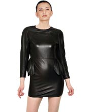 sultry-leather-dress-with-ruffled-waist