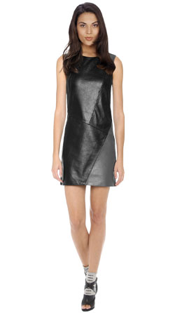 Peppy Leather Dress with Slash Detailing