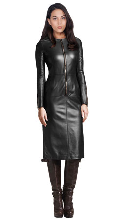Zip Placket Full Length Leather Dress