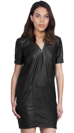 Petite V-neck Tapered Leather Dress