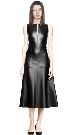 Elite Form Fitting Leather Midi Dress