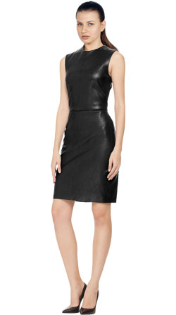 Sleek A-line Cut Leather Sleeveless Dress
