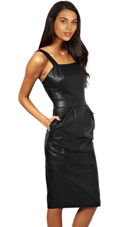 Silhouette Fit Sleeveless Leather Midi Dress