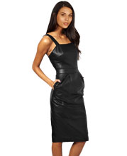 silhouette-fit-sleeveless-leather-midi-dress