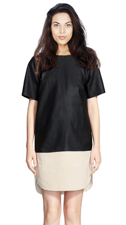 Womens Lambskin Shift dress with a Classy Silhoutte and Round Neck