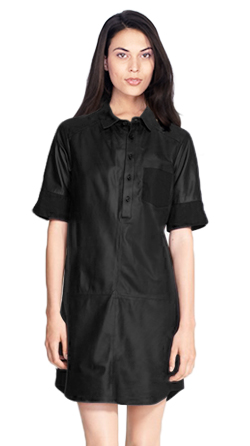 Womens Leather Casual Shirt Dress