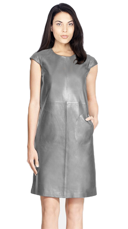 Womens Leather Relaxed Fit A line Dress