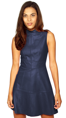 Womens Leather Dress with Back Zip Fastening