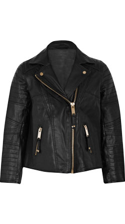 Trendy Padded Girls Leather Moto Jacket