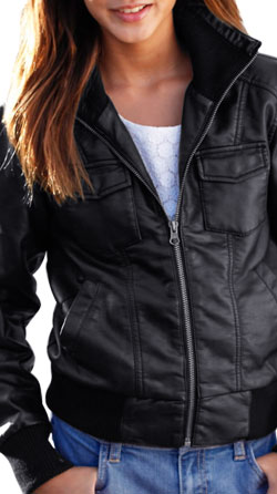 Fashionable Leather Jacket with Wide Ribbed Detail