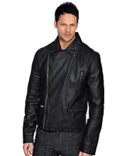 Impressive button-down collar leather jacket for men