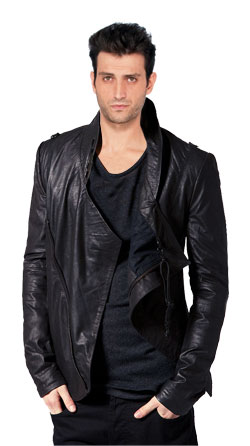 Waterfall Style Draped Leather Jacket for Men