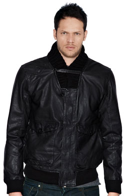 Ribbed collar leather jacket for men