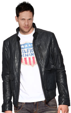 Contemporary leather jacket for men