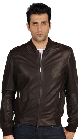 Stand Up Collar Mens Leather Jacket
