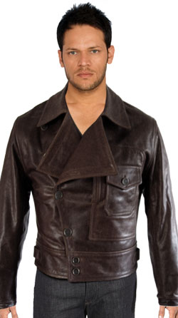 Napoleon Collared Leather Jacket for Men
