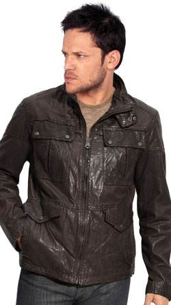 Double-Snap Collared Leather Jackets for Men