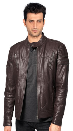 Classy Grain Coated Mens Leather Jacket