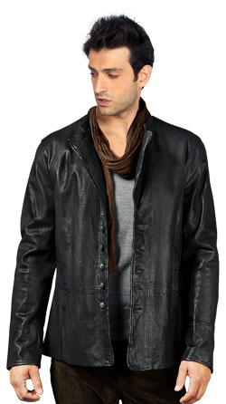 Buttoned Cuffs Trendy Leather Jacket