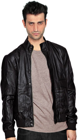 Peppy Leather Jacket with Crinkle Effect