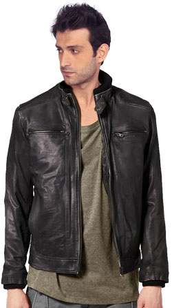 Push Button Collared Leather Jacket