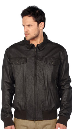 Sturdy Leather Jacket with Knitted Cuffs