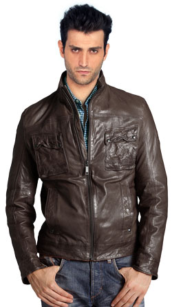 Skin Touch Retro Pattern Leather Jacket