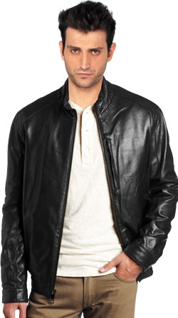 Leather Jacket with Concealed Chest Pouch