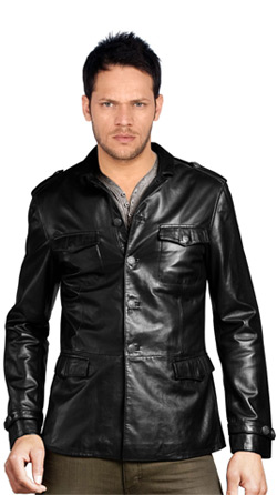 Leather Jacket with Shirt Patterned Collar