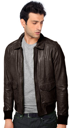 Hip Leather Jacket with Woolen Finish