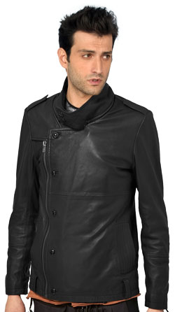 Bouncy Leather Jacket with Zipped Collar