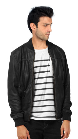 Leather Jacket with Grooved Collar