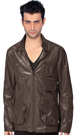 Unique Leather Jacket with a Neck Latch