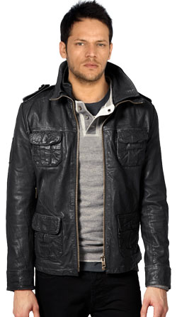 Emblematic Style Leather Jacket for Men