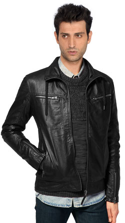 Trendy Leather Jackets with Collar Lace