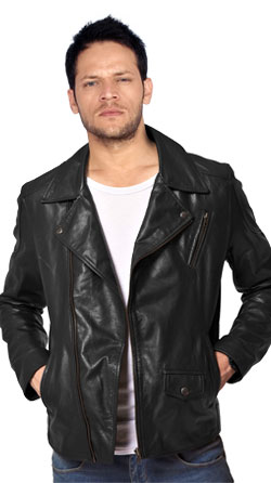 Zipped Leather Jacket with Overlapping Front Flaps