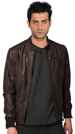 Spongy Lamb Leather Jacket with Stud Collar
