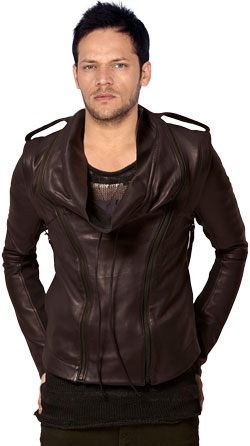 Falling Collar Mens Leather Jacket