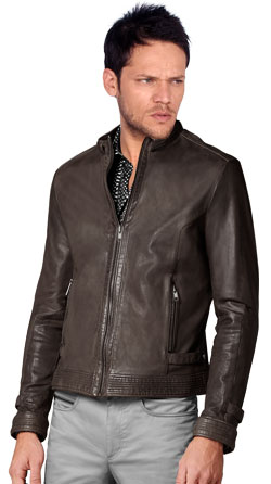 Straight Zipped Leather Jacket for Men