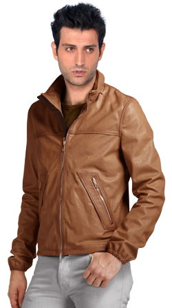 Straight Sleeves and Straight Neck Leather Jacket