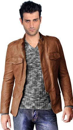 Buttoned Cuffs Leather Jacket for Men