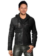 Winter Style Fleece Hooded Leather Jacket
