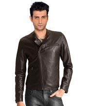 Crew Neckline Peppy Mens Leather Jacket