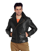 Stylish Zip-Closure Double Folded Leather Jacket