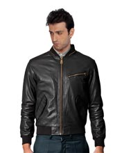 Zip Neckline Detailing Leather Mens Jacket