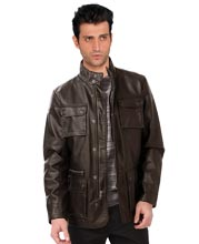 Quilted Pattern High Collar Leather Mens Jacket