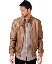 Tonal Sewed Leather Mens Jacket