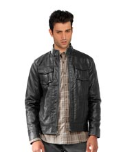 Front Zippered Classic Leather Mens Jacket
