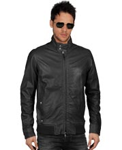 Leather Stand Collar with Buttoned Jacket for Men